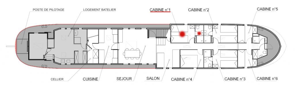 Plan de la péniche Haricot Noir croisière canal du midi cabine 1