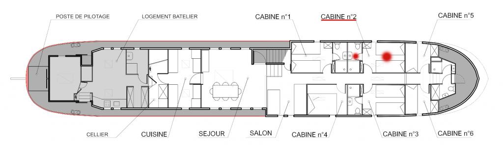 Plan de la péniche Haricot Noir croisière canal du midi Cabine 2
