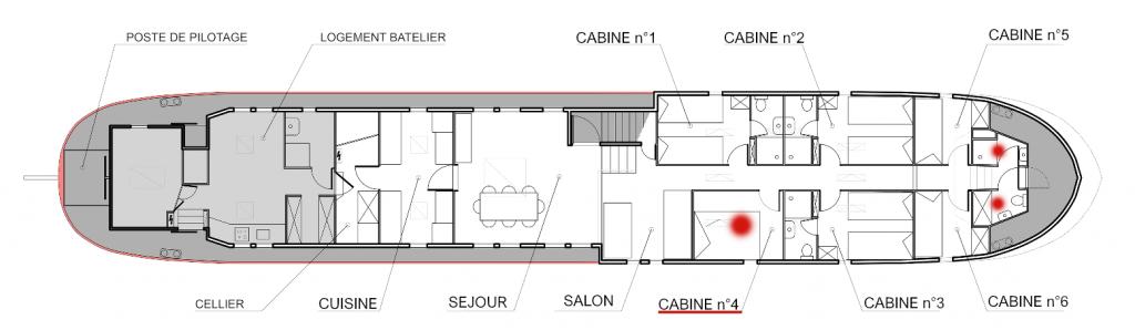 Plan de la péniche Haricot Noir croisière canal du midi Cabine 4