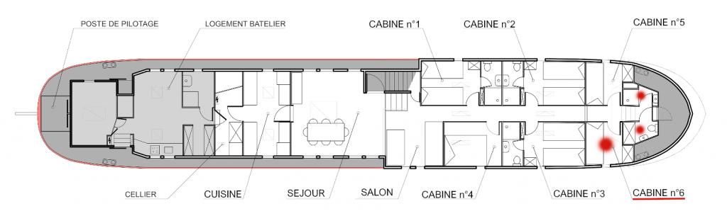 Plan de la péniche Haricot Noir croisière canal du midi Cabine 6