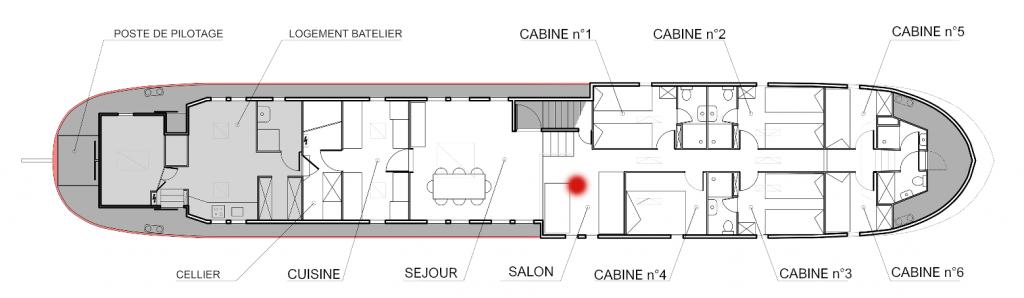 Plan de la péniche Haricot Noir croisière canal du midi le salon