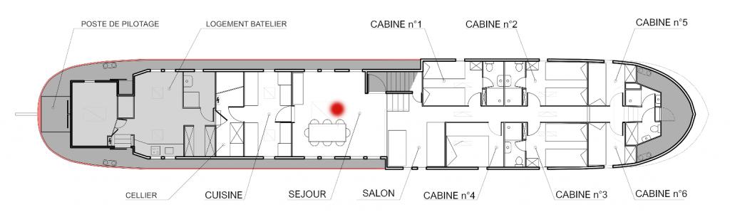 Plan de la péniche Haricot Noir croisière canal du midi le séjour