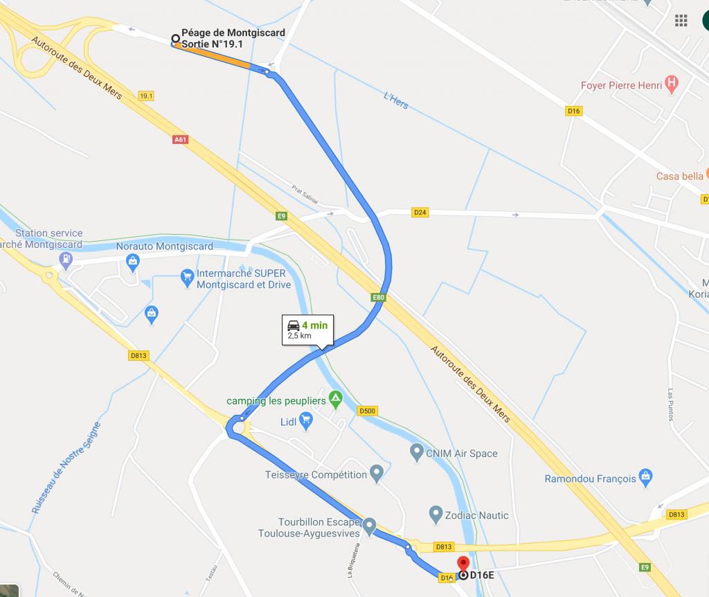 plan d'accès Ecluse Ayguevives - Péniche Haricot Noir